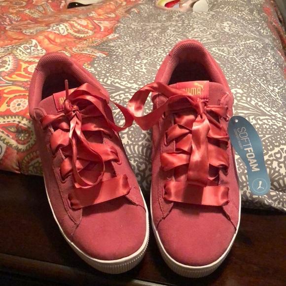 Puma Shoes | Pink Suede Platforms W